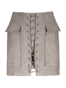 Lace Up Faux Suede Mini Skirt - Off-white