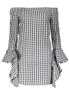 Checked Off Shoulder Flare Sleeve Dress - Plaid