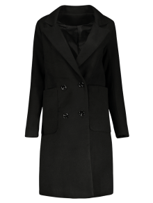 Double Breasted Wool Blend Midi Coat - Black M