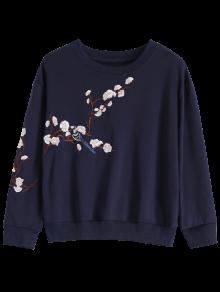 Titoni Embroidered Round Neck Sweatshirt - Purplish Blue L