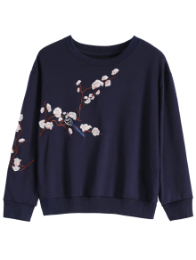 Titoni Embroidered Round Neck Sweatshirt - Purplish Blue