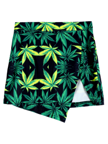 Leaf Print Packet Buttock Slit Skirt - Green