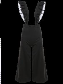 Flounced Culotte Overalls - Black