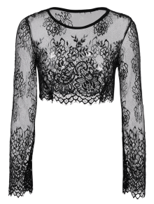black lace long sleeve see through crop top belly shirts black blouses l zaful. Black Bedroom Furniture Sets. Home Design Ideas