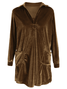 Cozy Velvet Long Sleeve Shirt Dress BROWN: Long Sleeve Dresses S ...