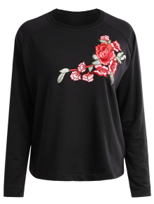 Floral Applique Pullover Sweatshirt