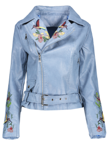 Embroidered Lapel Collar Faux Leather Jacket