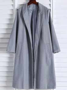 Shawl Neck Gray Wool Coat - Gray S