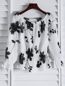 Buy Frilled Embroidered Shoulder Top - WHITE M