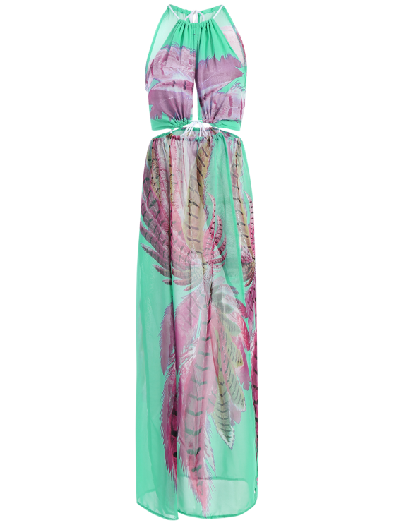 Slit Cutout Drawstring Printed Maxi Dress - TURQUOISE S Mobile
