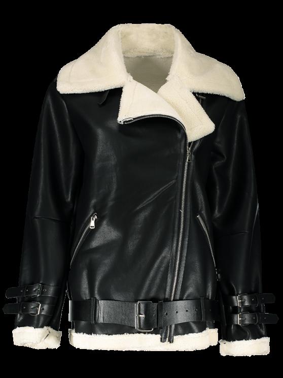 fashion Lapel Faux Shearling Biker Jacket - BLACK L