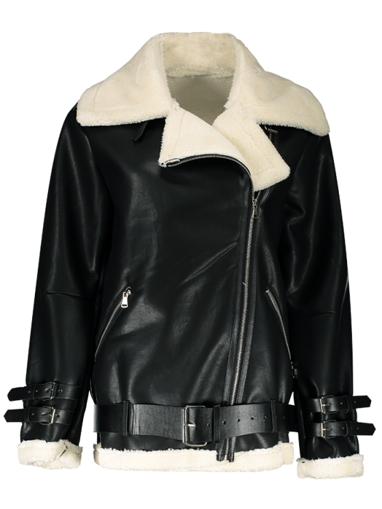 Lapel Faux Shearling Biker Jacket - BLACK M Mobile