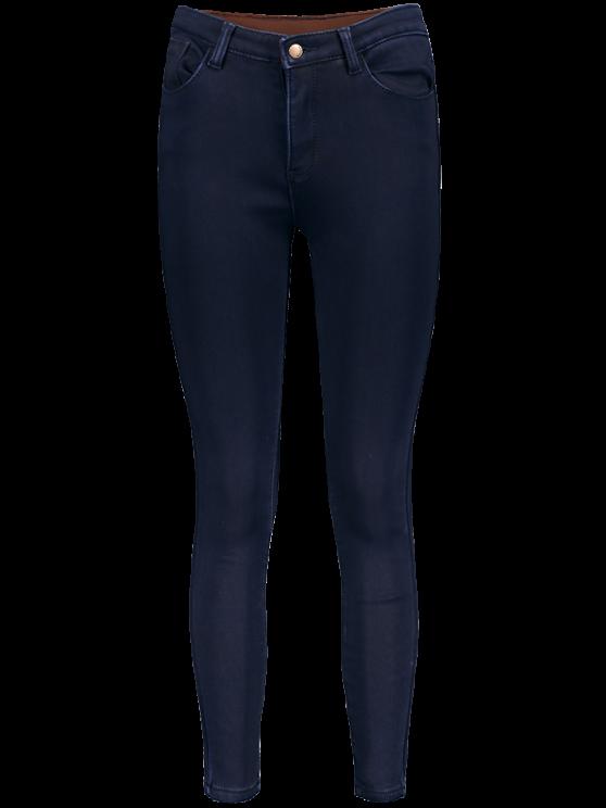 Super Elastic Wool Blend Pencil Jeans - DEEP BLUE M Mobile