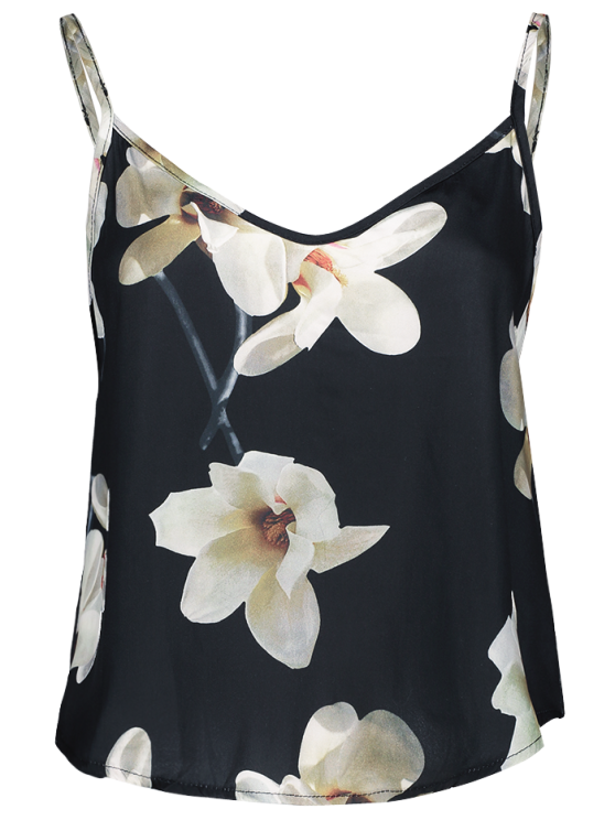 Ajustado satén con tirantes floral - Negro S