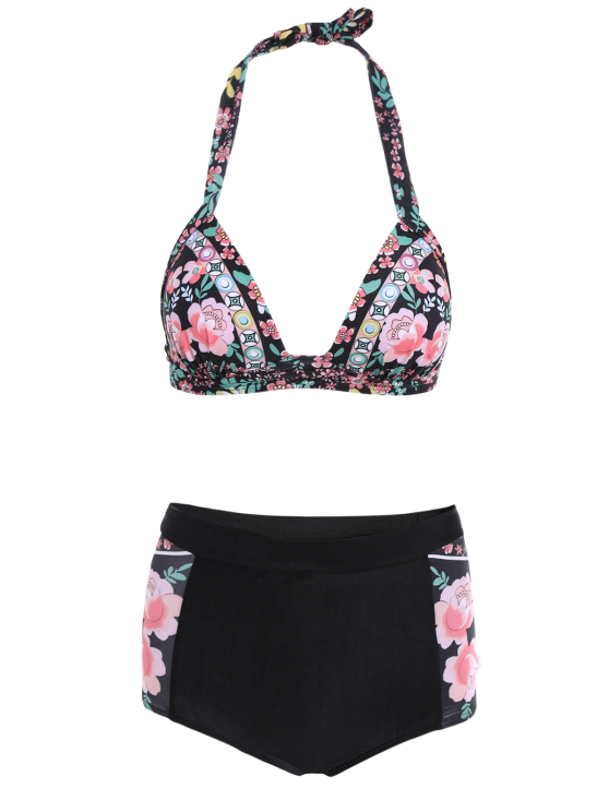 Floral High Waisted Two-Piece Swimsuit - BLACK 2XL Mobile