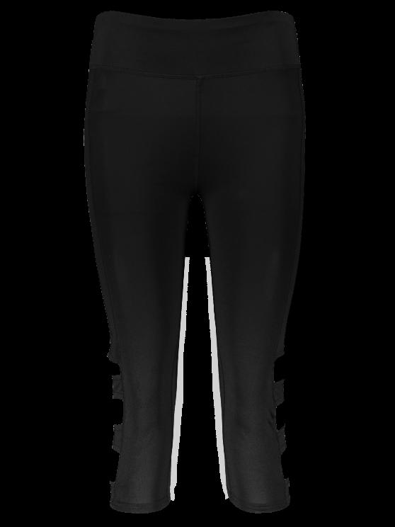 Hollow Out Quick -Dry Capri Workout Pants - BLACK L Mobile