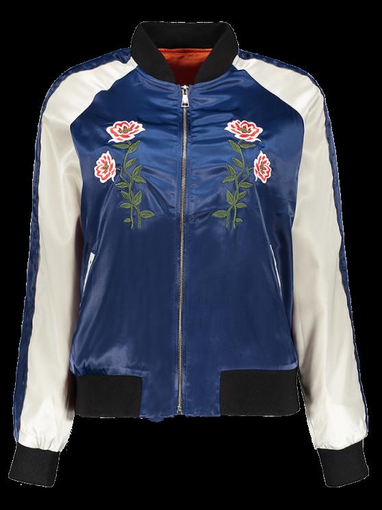 Carta floral bordada chaqueta de bombardero - Azul S