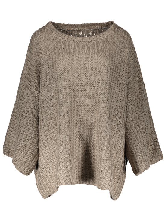 buy Casual Flare Sleeve Sweater - DARK COFFEE ONE SIZE