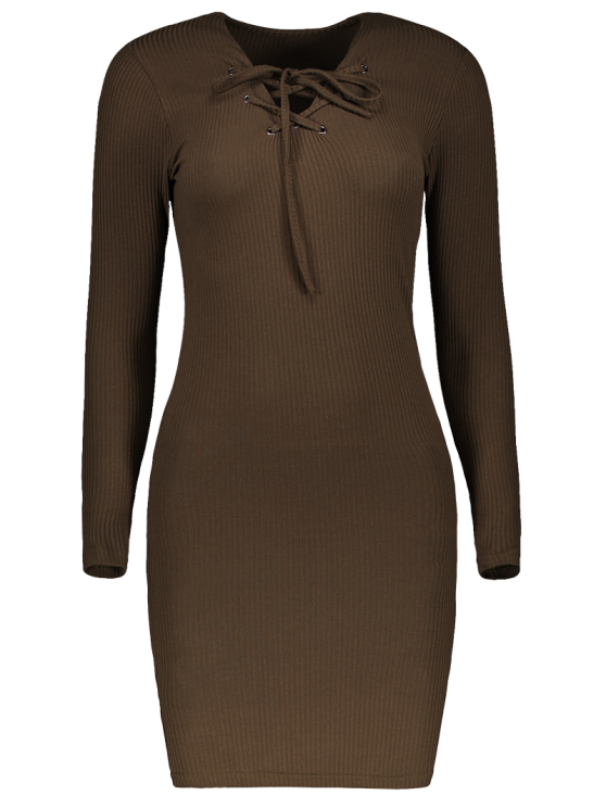 Lace Up V Neck Sweater Dress - ARMY GREEN M Mobile