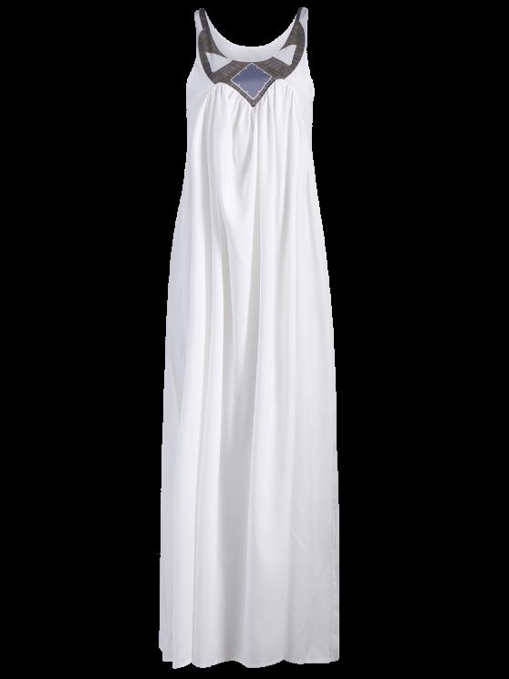 Jewel Neck Smock Summer Maxi Dress - WHITE XL Mobile