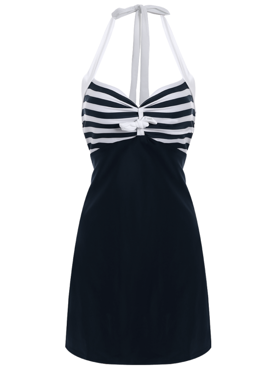 Halter One-Piece Striped Multi Convertible Way Swimwear - WHITE AND BLACK L Mobile