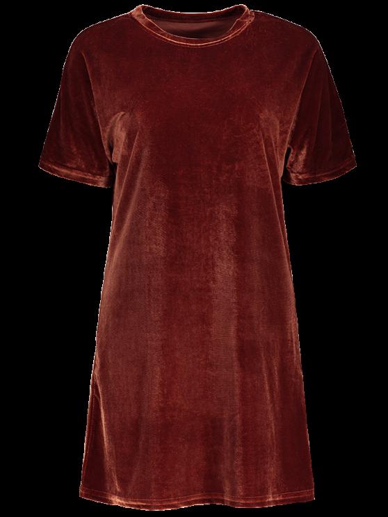 Velvet Mini Shift Layering Dress - BURGUNDY ONE SIZE Mobile