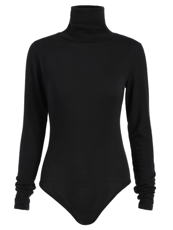 shops Gloved Sleeve Turtle Neck Bodysuit - BLACK M