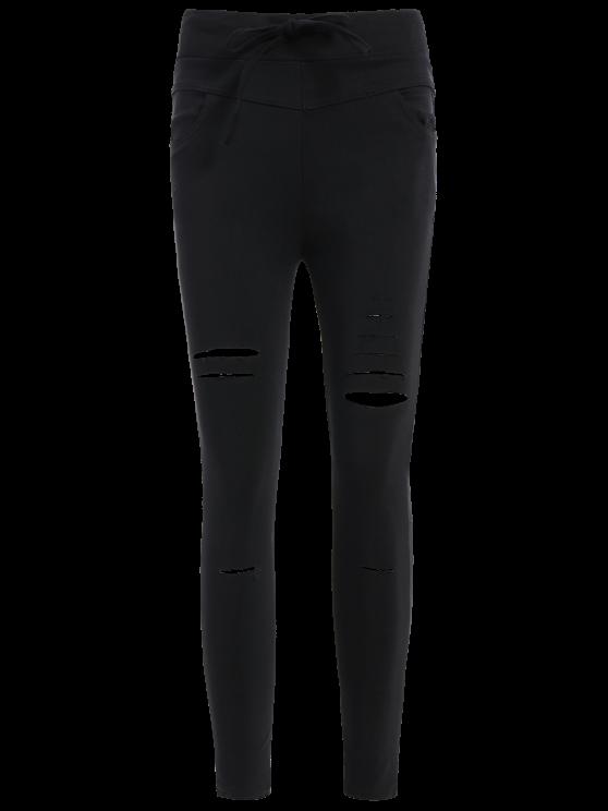Ripped Skinny Ninth Pants - BLACK 2XL Mobile