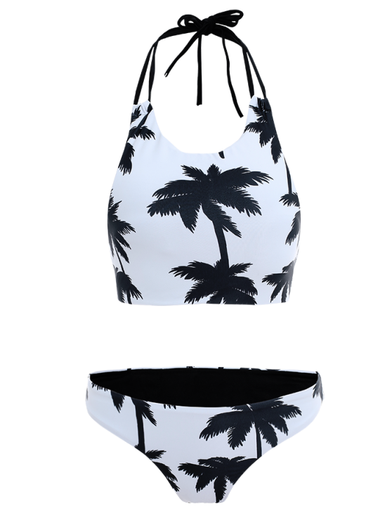 Coconut Palm Pattern High Neck Bikini - WHITE M Mobile