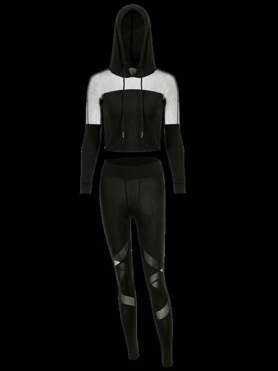 Cropped Hoodie with Mesh Leggings - BLACK S Mobile