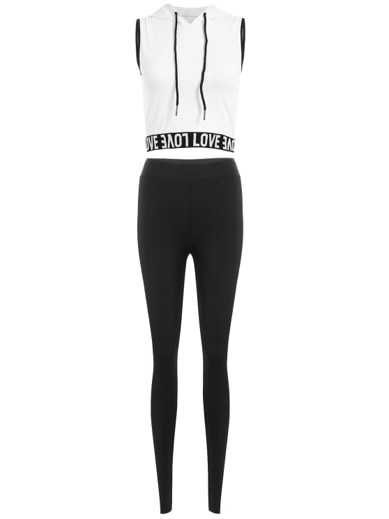 Letter Hoodie and Color Spliced Leggings - WHITE L Mobile