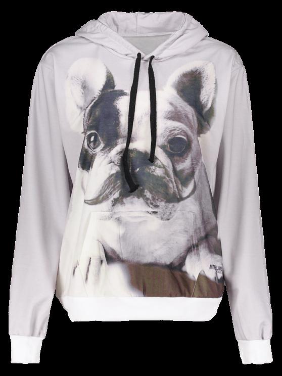 Perro de la historieta bolsillo frontal con capucha de impresión - Gris Claro XL