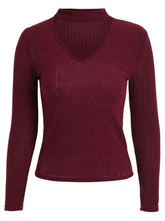 fancy Cutout V Neck Choker Jumper - WINE RED L