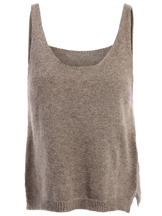 Side Furcal Knitted Vest - COFFEE ONE SIZE Mobile