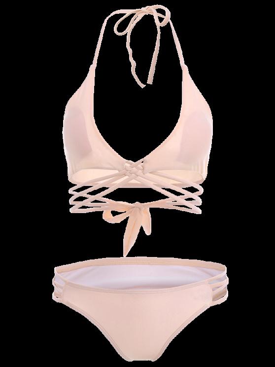 Strappy Cutout Lace-Up Bikini Set - PINK M Mobile