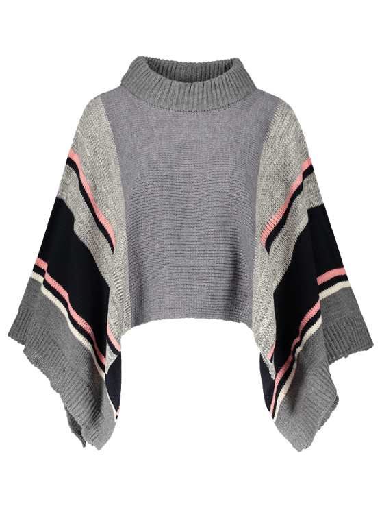 sale Stripe Dolman Poncho Sweater - GRAY ONE SIZE