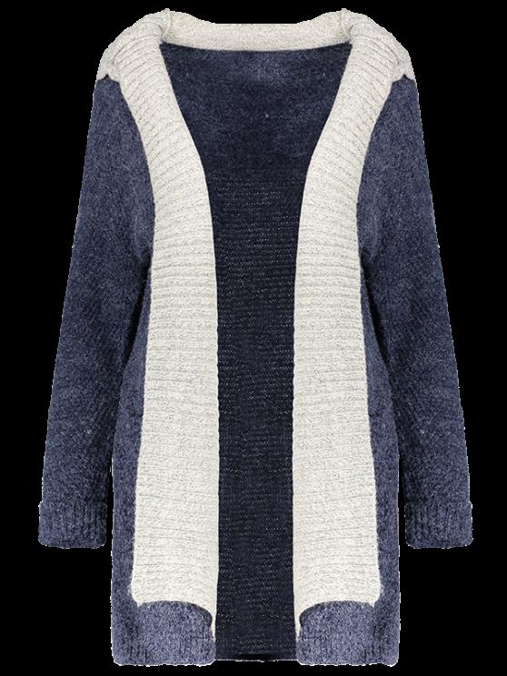 Hooded Faux Twinset Cardigan - PURPLISH BLUE M Mobile