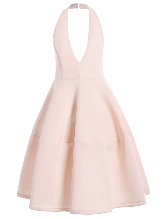 Open Back Plunging Neck Sleeveless Dress - PINK XL Mobile