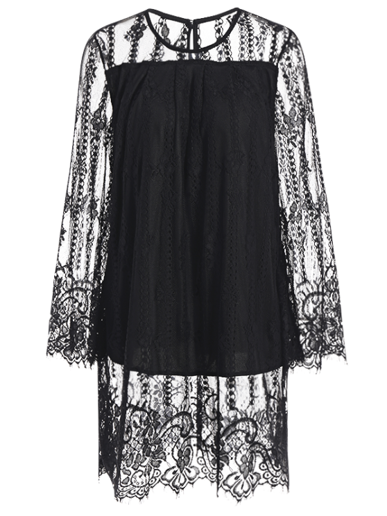 Hollow Out Long Sleeve Lace Dress - BLACK S Mobile