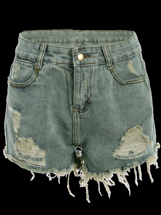 Ripped Denim Hot Pants - LIGHT BLUE S Mobile