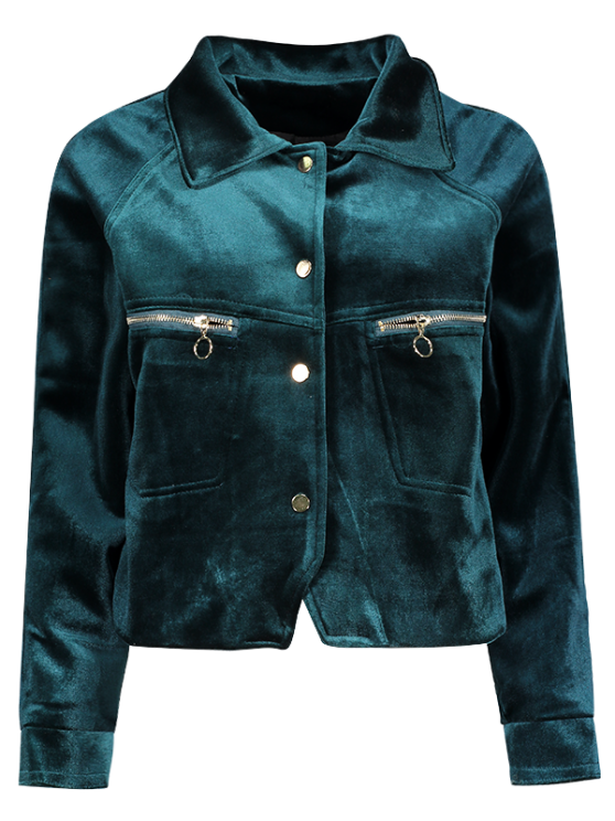 Graphic Embroidered Zipper Pocket Velvet Jacket - BLACKISH GREEN M Mobile