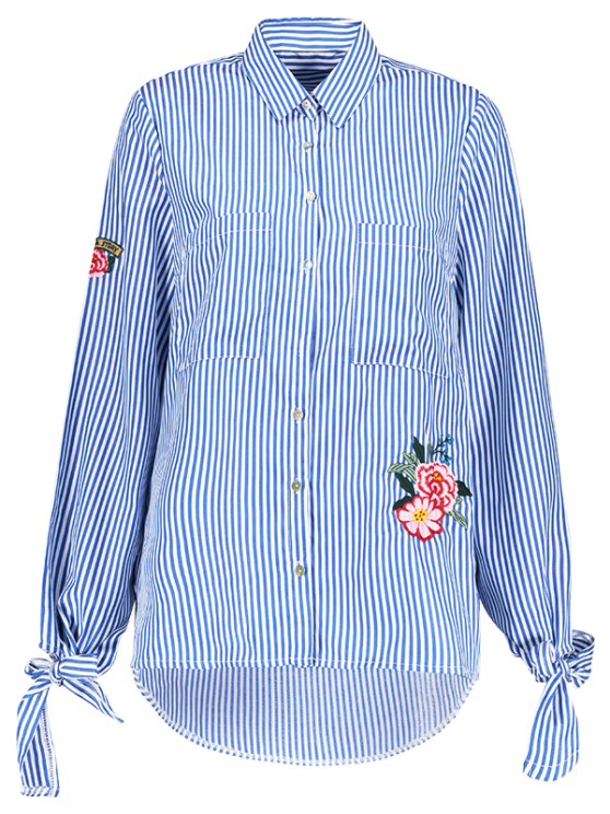 best Floral Embroidered Tied Striped Shirt - STRIPE S