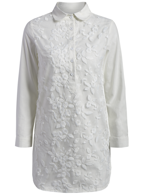 Buttoned Embroidered Blouse - WHITE S Mobile