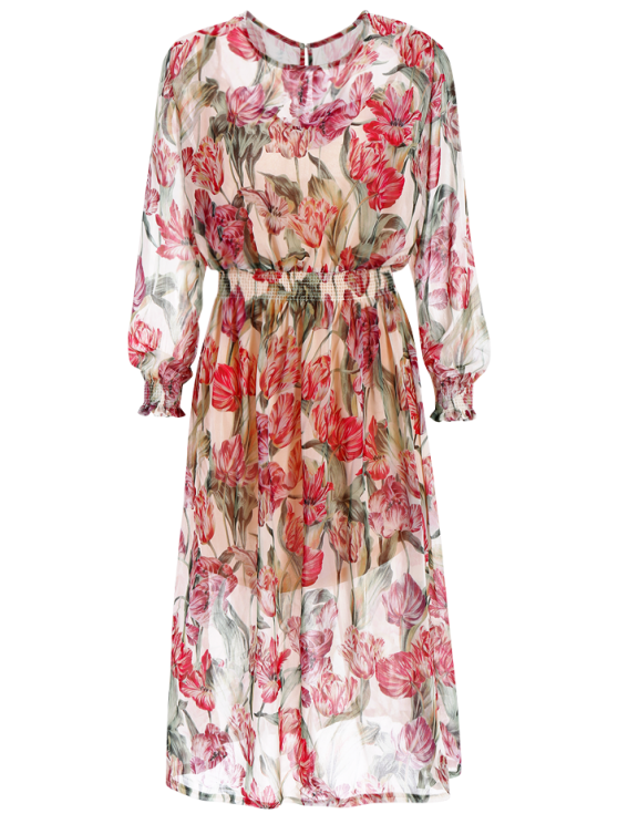 Floral Long Sleeve Blouson Dress - COLORMIX L Mobile