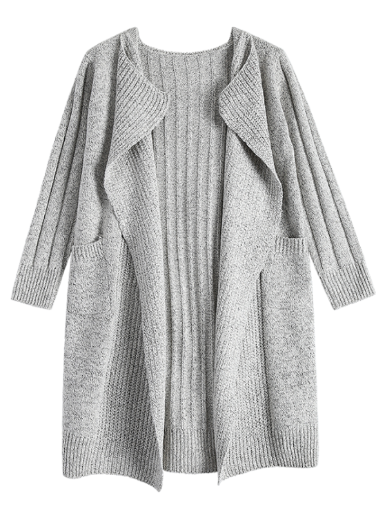 Circle Scarf Neck Open Front Cardigan - GRAY ONE SIZE Mobile