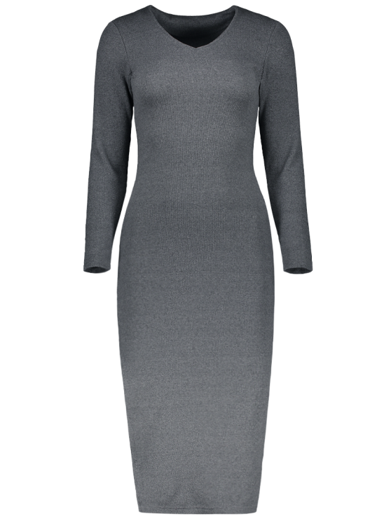 Long Sleeve Side Furcal Sweater Dress - GRAY M Mobile