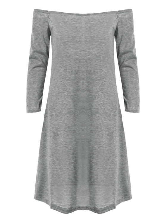 Long Sleeves Off Shoulder Dress - GRAY S Mobile