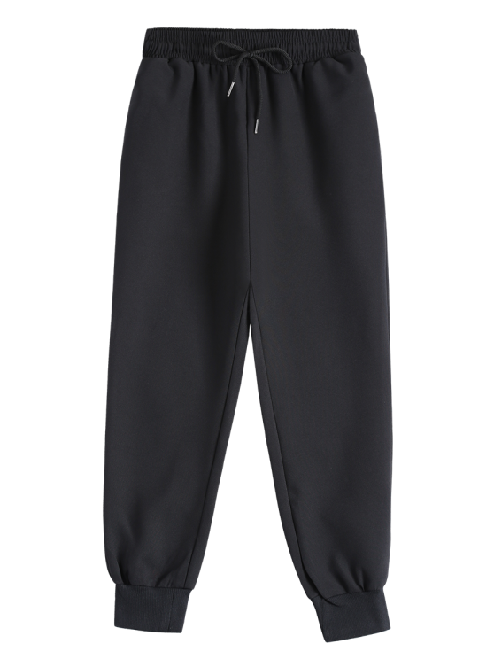new Drawstring Design Jogging Pants - BLACK S