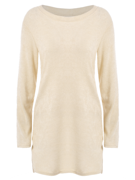 Side Zipper Sweater Dress - BEIGE XL Mobile