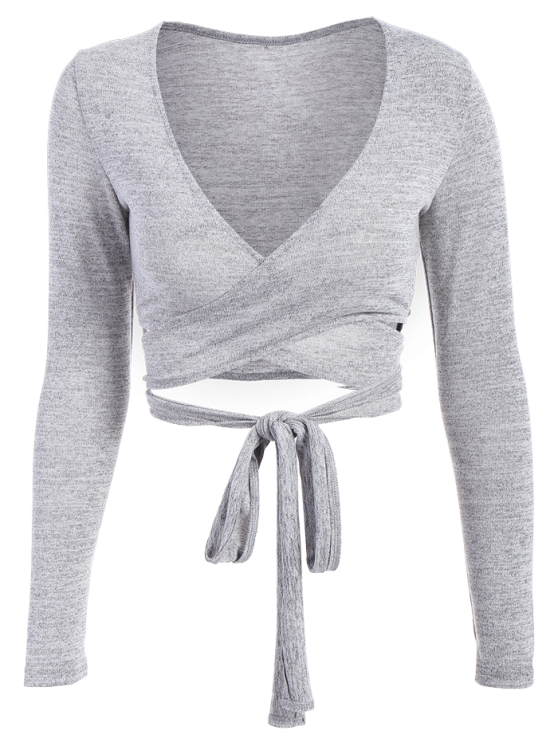 Long Sleeved Cropped Wrap Top - GRAY XL Mobile